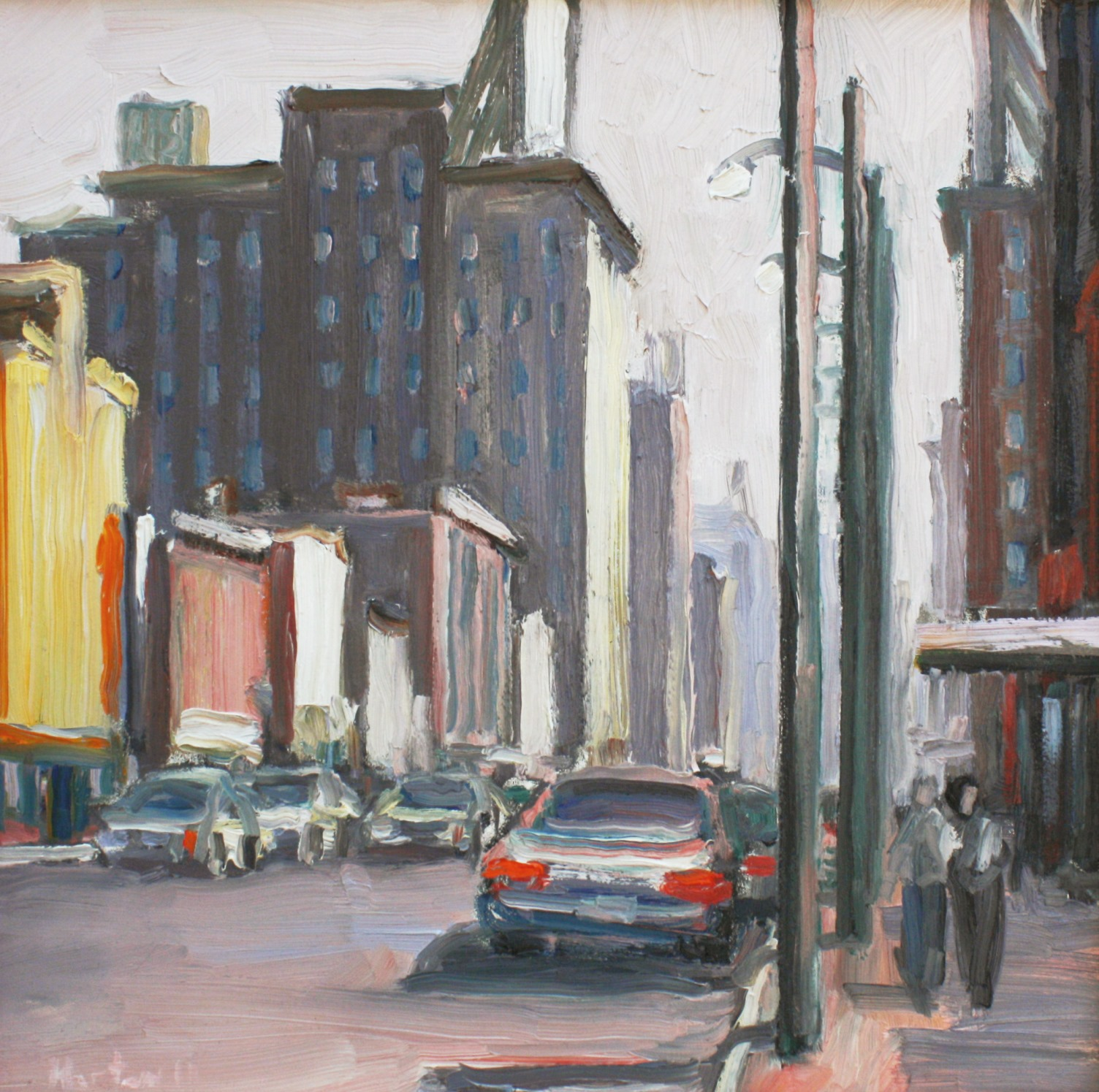 "Light Poles and Pedestrians 12"" x 12"""