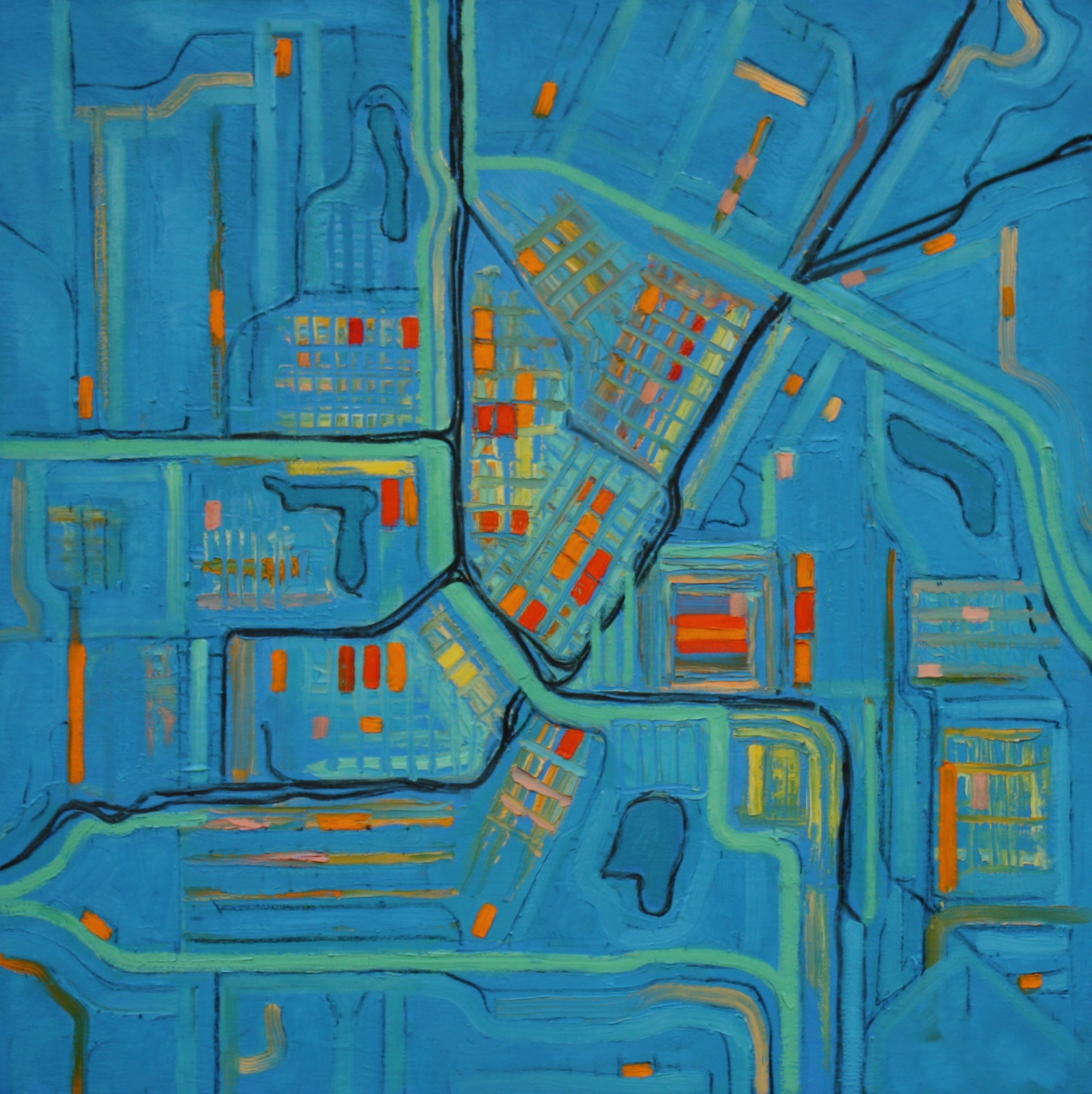 "City Map in Blue 40""x40"""