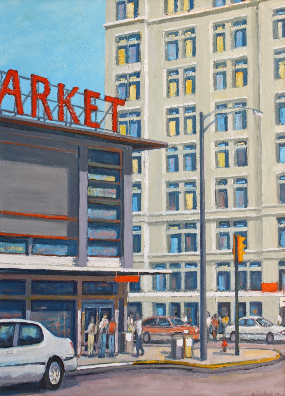 "Market by White Building 50"" x 36"""