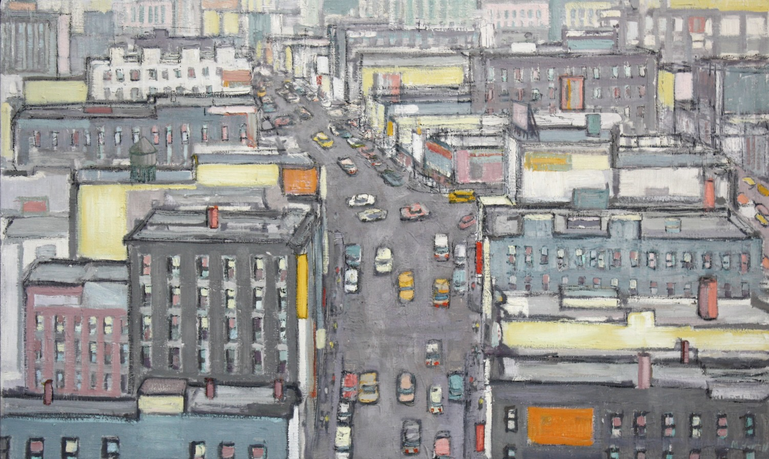 "Aerial View of Downtown in Gray, Whites and Yellows  30"" x 50"""