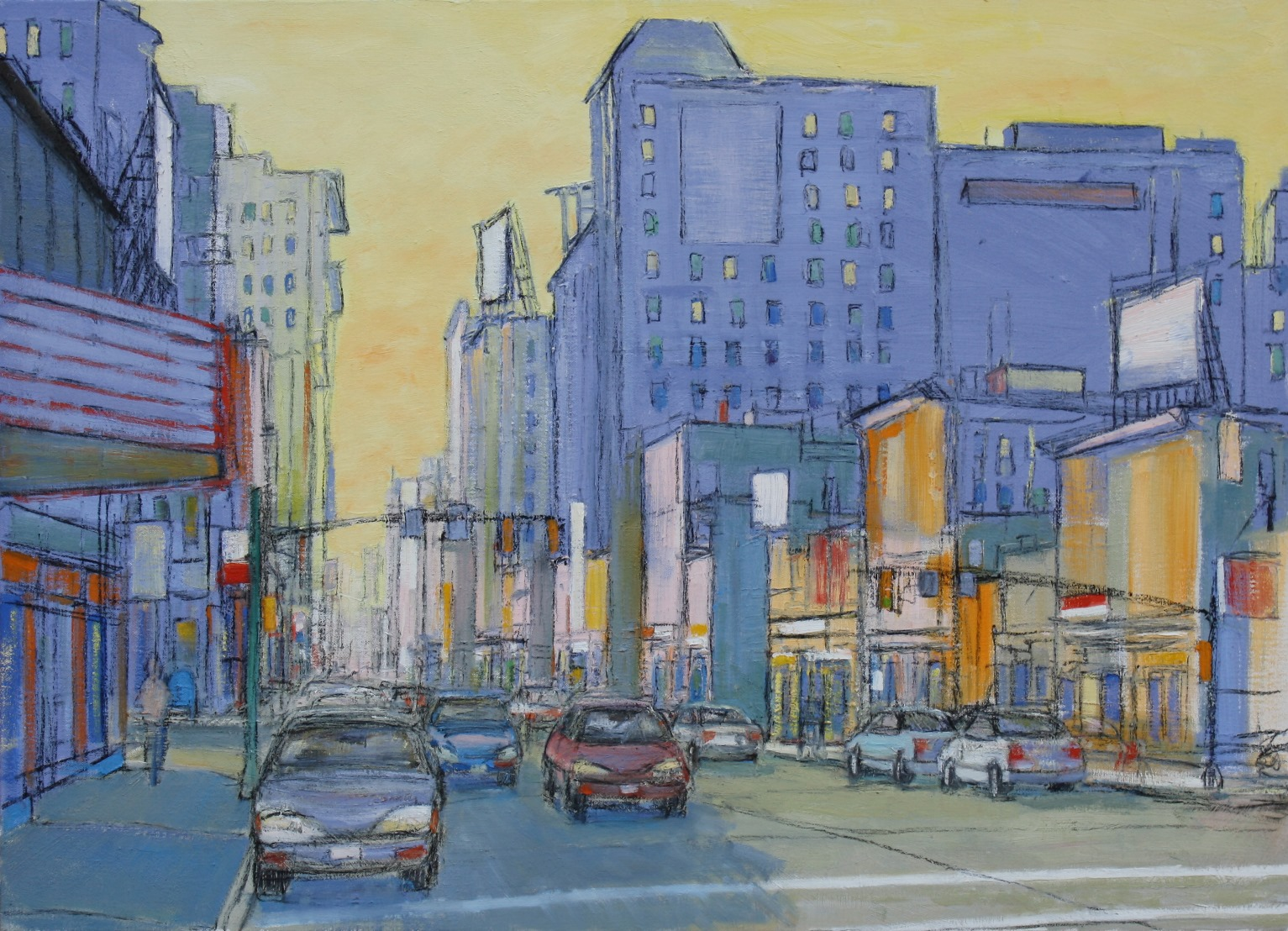 "Busy City Street with Yellow Sky   36"" x 50"""