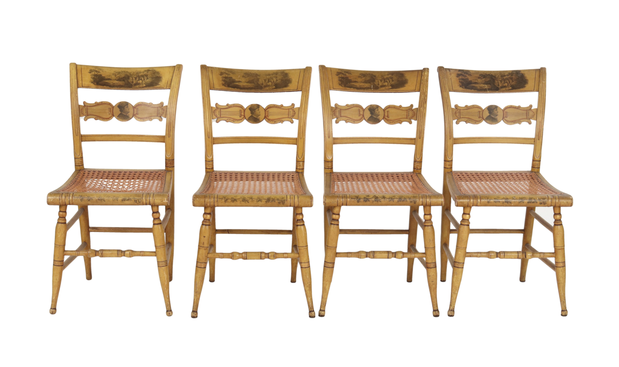 Set of Four New York Yellow Fancy Chairs with Benjamin Franklin, c. 1820