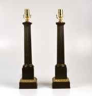 Pair of Tole Column Lamps