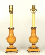 Pair of Turned Wood Baluster Lamps