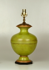 Turned and Painted Urn Shaped Lamp