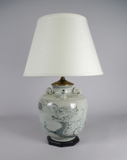 Blue and White Stoneware Jar Mounted as a Lamp