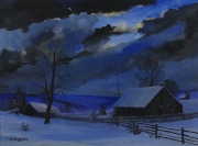 "Frederick Rushing Roe (1883- 1947) American, ""Winter Night"""