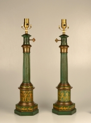 Pair of Green Tole Column Lamps
