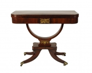 Regency Rosewood Card Table with Rare Palm Cross Banding