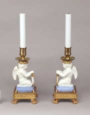View 2: Pair of Paris Porcelain Putti Mounted as Lamps, c. 1810-20