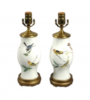 Delightful Pair of Small Decalcomania Lamps