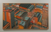 "View 2: City in Orange and Green 32"" x 58"""