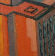 "View 3: City in Orange and Green 32"" x 58"""