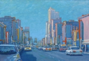 "Busy City Street in Blue  34"" x 50"""