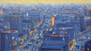 "City in Blue Lights and Yellow Sky 28""x50"""