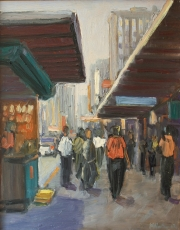 "Market with Pedestrians 14"" x 11"""