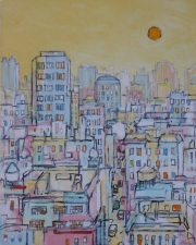 "City in Yellow 50""x40"""