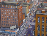 "Aerial View of City Corner 11"" x 14"""