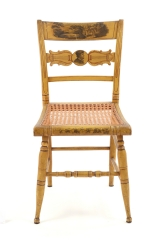 View 2: Set of Four New York Yellow Fancy Chairs with Benjamin Franklin, c. 1820
