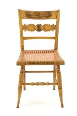 View 3: Set of Four New York Yellow Fancy Chairs with Benjamin Franklin, c. 1820