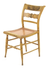 View 7: Set of Four New York Yellow Fancy Chairs with Benjamin Franklin, c. 1820