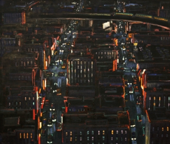 "City at Night with Train 42"" x 50"""