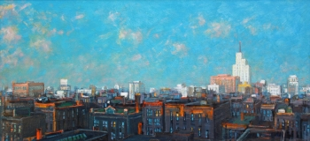 "City with Blue Sky and White Building 32"" x 70"""