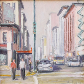 "City in Pink and White with Two Pedestrians 12"" x 12"""